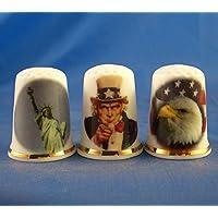 Porcelana China colección de dedales–Set de tres América