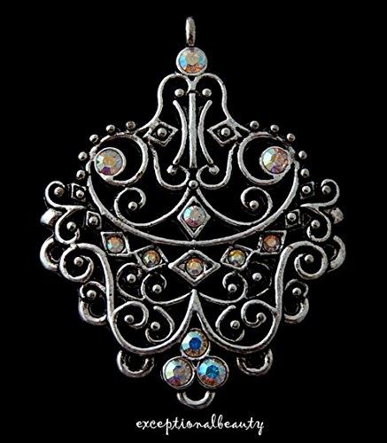 Swarovski Crystal Beads Fancy Earring - Silver AB Crystal Rhinestone Filigree Renaissance Chandelier Bead Earring Drops