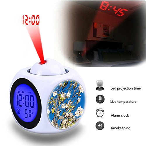 Projection Alarm Clock Wake Up Bedroom with Data and Temperature Display Talking Function, LED Wall/Ceiling Projection,Customize the pattern-015.Almond Tree, Spring, Almond Blossom, Pink -