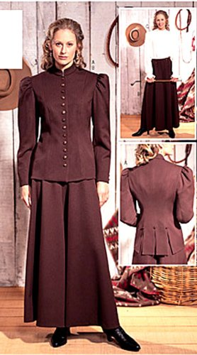 Butterick 3836 Historical Costume Pattern Anne Oakley, Western Wear 1800s, Lined Jacket Culottes Size 6, 8, ()