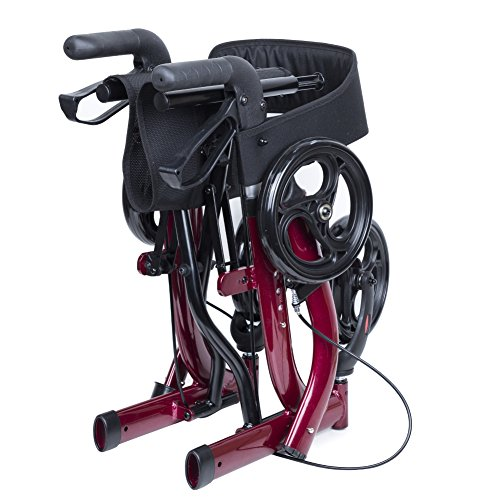 ELENKER Medical Euro Style Four Wheel Walker Rollator Red by ELENKER (Image #7)