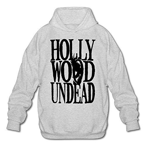 Hotboy19 Men's Long Sleeve Hooded Sweatshirt Hollywood Rock Band Ash Size S