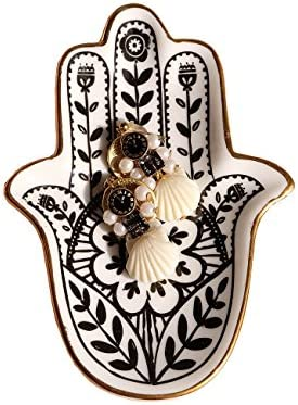 PUDDING CABIN Trinket Dish Hamsa Ring Dish Holder Small Jewelry Tray Decorative Plate