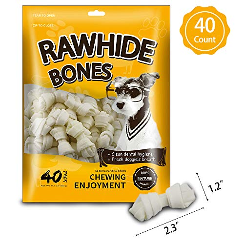 MODONE Rawhide for Dog,40-Count Dog Rawhide Bones Rawhide Free Dog Chew Treats for Small Dog ()