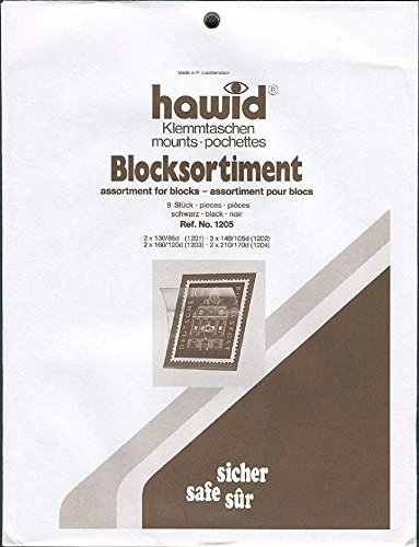 Hawid Stamp Mounts - Assorted Blocks - Black (9 per pack)