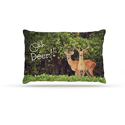 Kess InHouse Robin Dickinson Ohh Deer  Fleece Dog Bed, 50 by 60 , Green Brown