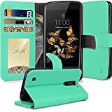 LG Phoenix 2 Case, LG Escape 3 Case, LG K8 Case, Tauri [Stand Feature] Wallet Leather Case [Card Slot] Flip Cover Protective Case For LG Phoenix 2 / LG Escape 3 / LG K8 - Mint