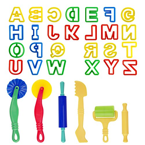 Kare and Kind Smart Dough Tools set of 32pcs with Dough tools and Capital Letters (Alphabet) - Assorted color (Capital - Capital Letters Alphabet