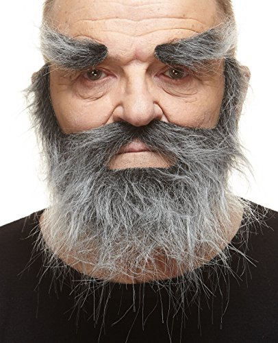 Realistic Traper salt and pepper fake beard, mustache and eyebrows, self adhesive