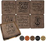 Bible Verse & Inspiration Leatherette Coasters - Each with a different verse or saying - Set of 6 with holder by Griffco (Black w/silver design)