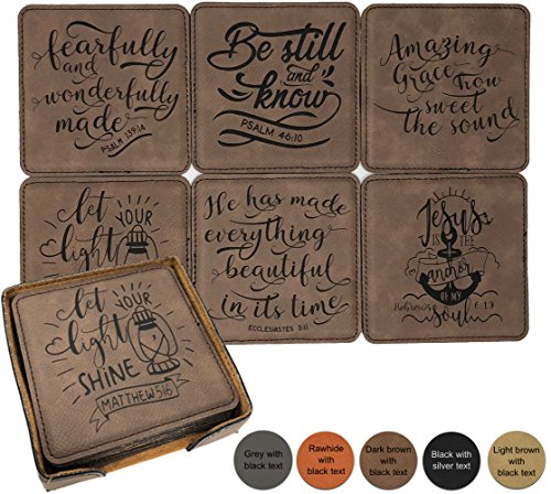 Bible Verse & Inspiration Leatherette Coasters - Each with a different verse or saying - Set of 6 with holder by Griffco (Black w/silver design) by Griffco