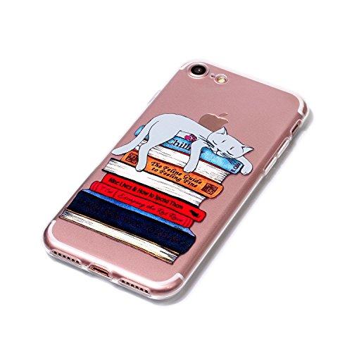 Coque iPhone 8 Le chat sur le livre Premium Gel TPU Souple Silicone Transparent Clair Bumper Protection Housse Arrière Étui Pour Apple iPhone 8 + Deux cadeau