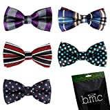 Bundle Monster Stylish Dashing 5pc Boys Tuxedo Novelty Adjustable Neck Bow Tie Lot , Dapper Junior Collection - SET 1