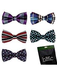 Bundle Monster Stylish Dashing 5pc Boys Tuxedo Novelty Adjustable Neck Bow Tie Lot , Dapper Junior Collection - SET 1