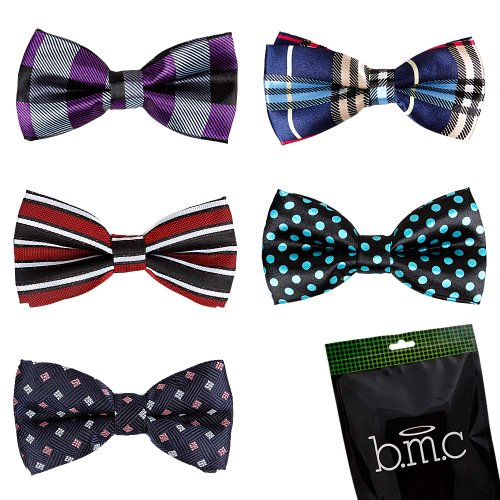 Bundle Monster Stylish Dashing 5pc Boys Tuxedo Novelty Adjustable Neck Bow Tie Lot  Dapper Junior Collection - SET 1