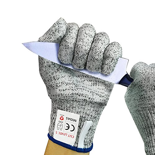 Midas Cut Resistant Gloves (1 Pair) Food Grade Level 5 Protection, Safety Gloves for Kitchen Food Prep, Cutting, Oyster Shucking, Mandolin Slicing, Meat Cutting and Wood Carving (L)