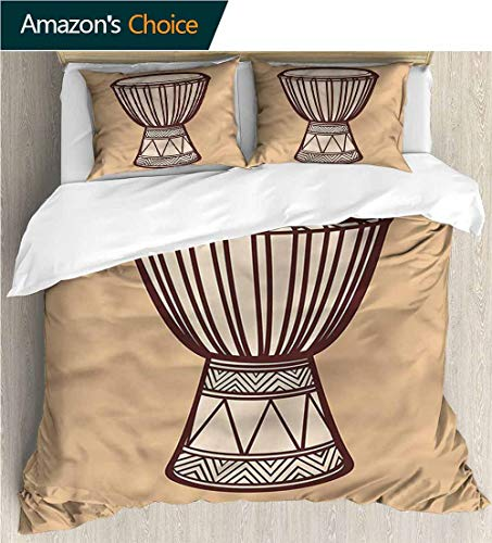 Bedding Sets Duvet Cover Set,Box Stitched,Soft,Breathable,Hypoallergenic,Fade Resistant Bedspreads Beach Theme Quilt Cover Children Comforter Cover-Drum Djembe Exotic Rhythm (87