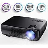 Tenker Projector, 65ANSI (2018 customized for home theater&Video Games) Portable Video Projector with 5.0 LCD & 176 Display, Supporting 1080p HDMI VGA USB AV, Compatible with iPad iPhone/Android
