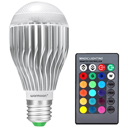 Warmoon E26 LED Light Bulb, 10W RGB Color Changing LED Lamp Dimmable with Remote Control (Light Bulb Color compare prices)