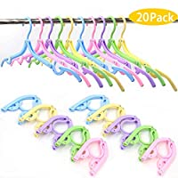 20 Pcs Folding Clothes Hangers, travel clothes hanger portable folding clothes hangers compact and save space for Both Family And Travel Use. (Multicolour)