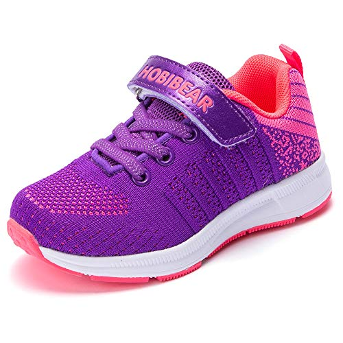 Kids Lightweight Sneakers Boys and Girls Casual Running Shoes(11.5,Purple) ()