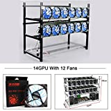 Aluminum 14 GPU Mining Rig Case With 12 PCS 120mm Case Fan, Stackable Open Air Frame Miner Case For ETH/ETC/ZCash/Cryptocurrency(Blue LED Fans,Black)