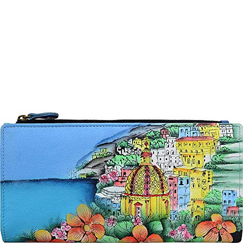 (ANNA by Anuschka Hand Painted Leather Two Fold Clutch Wallet (Amalfi Dawn))