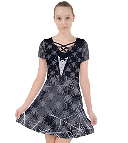[PattyCandy Womens Black Spider & Faux Suit Costume Caught In A Web Dress - XS] (Lady In Black Costume)