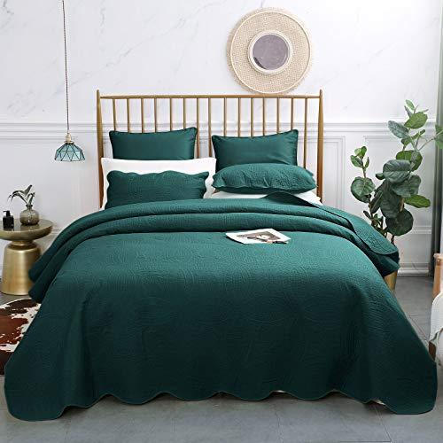 VEEYOO Bedspread Quilt Set King - Soft Microfiber Lightweight Coverlet Quilt Set for Summer, Bedspreads King/Cal King Size in 3 Pieces, Teal (Teal King Bedspread)