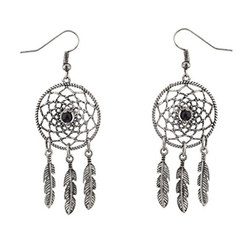 (Lux Accessories Dreamcatcher Leaf Tribal Black Stone Dangle Earrings)