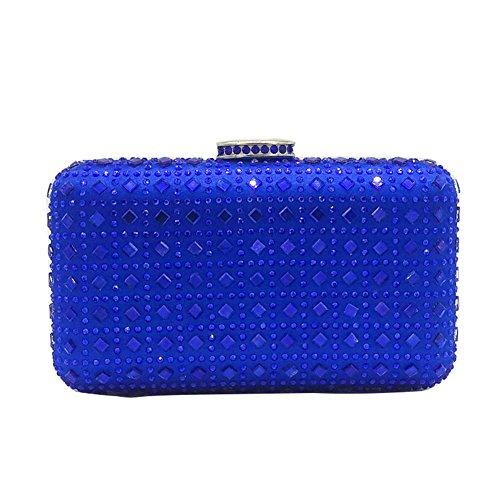 MSFS Pochette Pour Dames Noble Satin Diamant Robe Soirée Mariage Épaule Blue