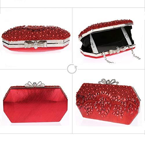 Jours Pochette d'autres Style fériés Femme Fashion de A Main 21x11cm Et Soirée Incrusté Diamants à 8x4inch de Sacs Sac Nouveau Perles de C soirée Bal soirée qZ607