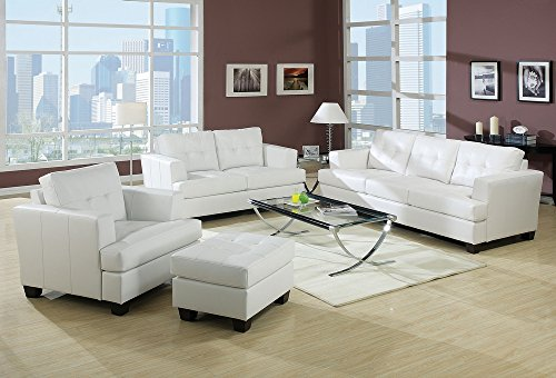 ACME Furniture AC-15095 Sofas, White - Button Tufted Wood Block Legs Bonded Leather - sofas-couches, living-room-furniture, living-room - 51PB51XPyyL -