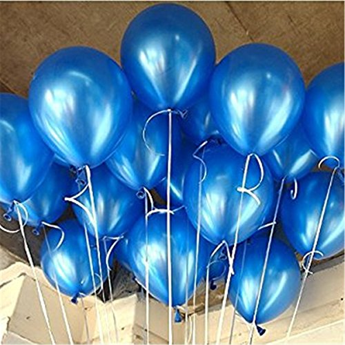 AnnoDeel 100 Pcs 10 Latex Blue Balloons, Pure Pearl Helium Wedding Decorations Birthday Party Decorations Blue Balloons