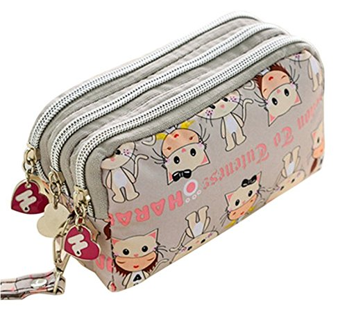 Clutch Keys Purse Short Printed Triple GaGadot Zipper Zipper Bag Cat Women UIWnqfFwt