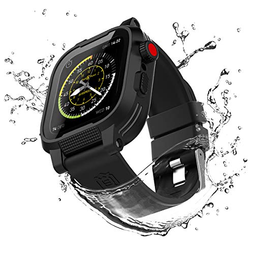IP68 Waterproof for Apple Watch Case 44mm Series 4 Black,Full Sealed Rugged Case With Built-in Screen Protector for iWatch Case 44mm With Soft Silicone Watch Band