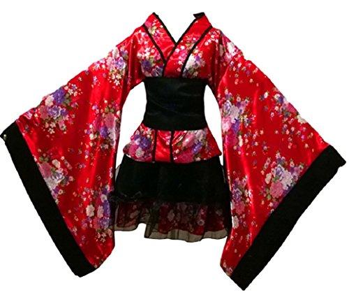 Japanese Kimono Costume (Jami JP Traditional Japanese Anime Kimono Style Robe Yukata Costumes for women US-XL / XXL size (US L size (Asia XXL), Traditinal Red))