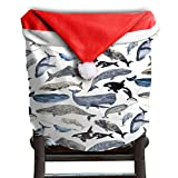 Whale Animal Christmas Chair Covers Cool Scratch Resistant Hang Around Chair For Unisex Chair Back Covers Holiday Festive