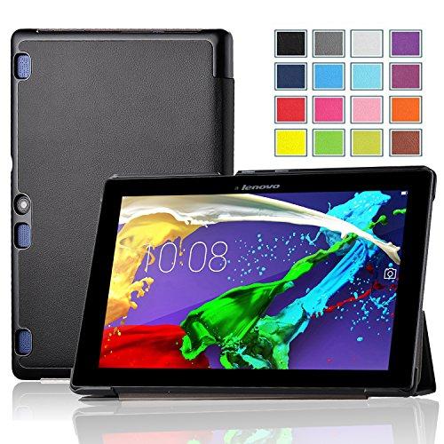 Lenovo TAB 2 A10-70 hülle Schutzhülle, IVSO hochwertiges PU Leder Etui - mit Standfunktion und automatischem Schlaf Funktion, super 360° Anti-Wrestling, ist für Lenovo TAB 2 A10-70 25,6 cm (10,1 Zoll) Tablet-PC perfekt geeignet, Schwarz