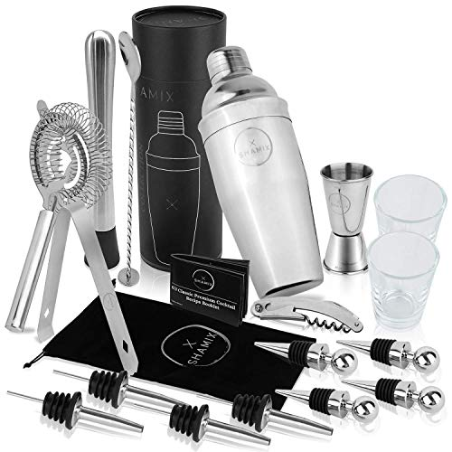 19-Piece Exclusive Cocktail Shaker Set and Bartender Kit With Tote, Shot Glasses, Cocktail Booklet - Home Bar Accessories Decor and Bar Set Includes 24oz Martini Shaker, Marked Jigger, Other Bar ()