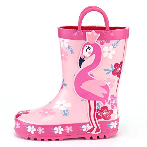 Price comparison product image KomForme Kids Girl Rain Boots,  Waterproof Rubber Printed with Handles in Various Prints and Different Sizes