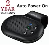Bluetooth Hands Free Car Speakerphone, SUNITEC Bluetooth Visor Car Kit In-Car Phone Speaker AUTO POWER ON Support GPS, Music and HandsFree Calling for iphone, Samsung and Smartphones [2 Year Warranty]