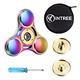 InTree Fidget Spinner Rainbow, Super Fast 6 - 8 Minutes Spin, Metal Tri-Spinner EDC Hand Finger Spinner with Case