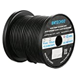 BNTECHGO 12 Gauge Silicone Wire Spool Black 100 feet Ultra Flexible High Temp 200 deg C 600V 12AWG Silicone Rubber Wire 680 Strands of Tinned Copper Wire Stranded Wire for Model Battery Low Impedance