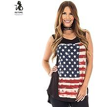 Axchongery Women T-Shirt American Flag Camisole Sleeveless Vest Asymetric Hem Blouse