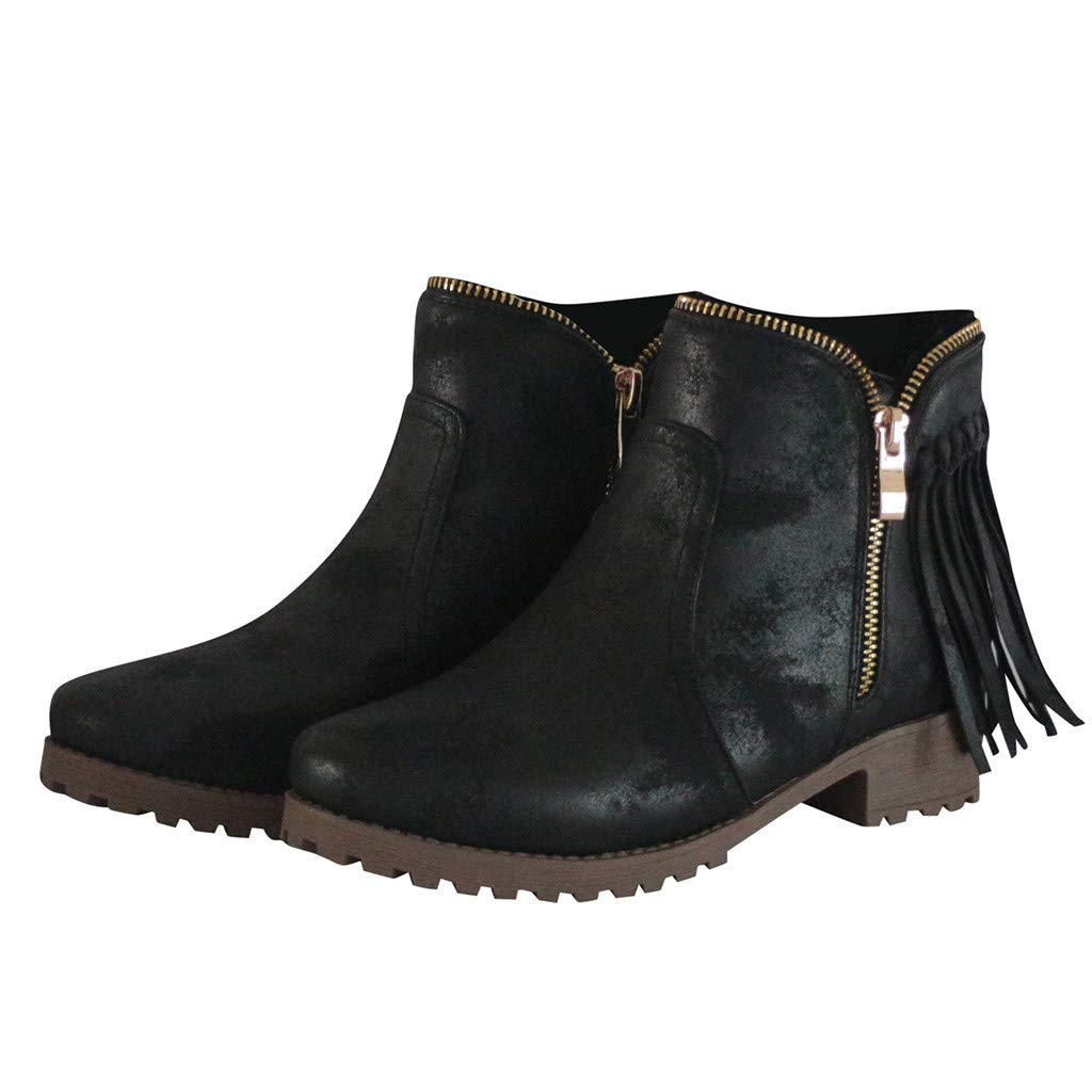 Chiccc Fashion Retro Womens Tassel Low-heele Zipper Non-Slip Roman Shoes Short Boots by Chiccc (Image #3)
