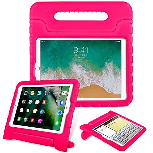 Fintie Case for Apple iPad 9.7 Inch 2018 Model (6th Gen) / iPad 9.7 2017 Model (5th Gen) / iPad Air - Kiddie Series Light Weight Shock Proof Convertible Handle Stand Cover Kids Friendly - Magenta