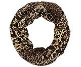 RW Soft & Cozy Knit Leopard Small Print Infinity Scarf (Camel)