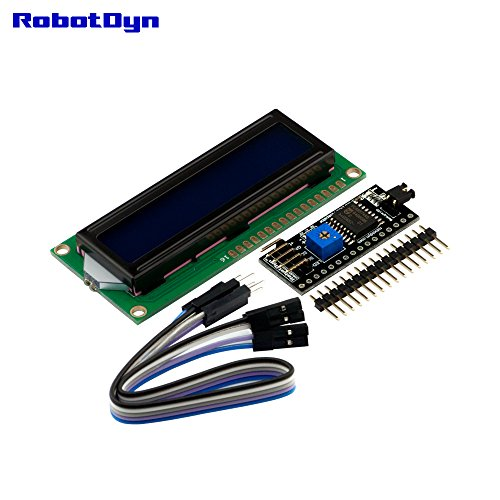RobotDyn - I2C LCD display 1602 (symbols 2 rows 16 columns, background  blue), with I2C interface, connection 2-wire, for projects with Arduino,  AVR,