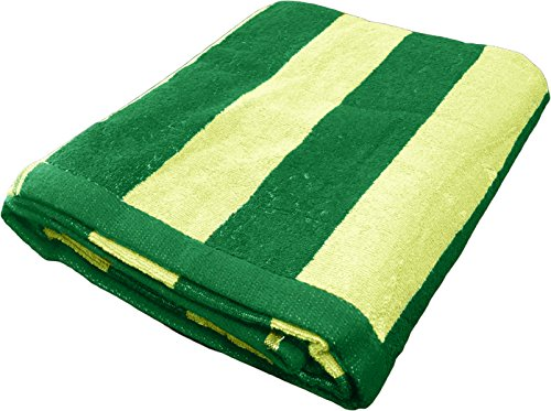 "Large Cabana Stripe Beach Towel - Fast Drying Cotton Lightweight Summer Towel - Made With 100% Turkish Cotton, 35"" x 70"" (Forest Green - Lime)"